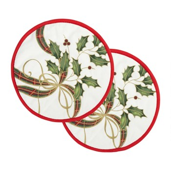 Famous Maker Holly Ribbon Printed Pot Holders, Set of 2