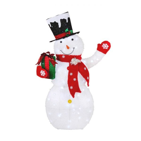 "52"" Snowman Holding Gift LED Yard Decor"